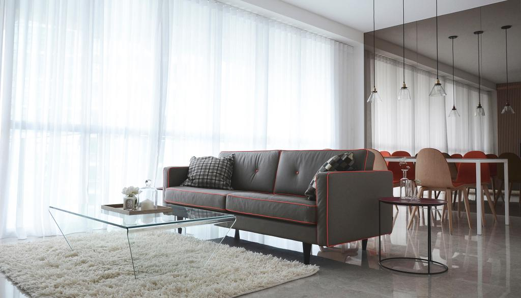 Modern, Condo, Living Room, Evelyn, Architect, 0932 Design Consultants, Mirror, Sofa, Ghost Furniture, Coffee Table, Rug, Carpet, Pencil Legs, Tiles, Day Curtain, Hanging Lamp, Chair, Furniture, Couch, Dining Table, Table