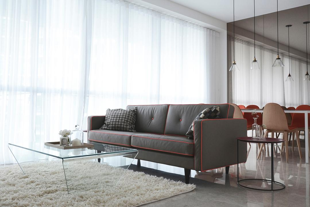 Evelyn, 0932 Design Consultants, Modern, Living Room, Condo, Mirror, Sofa, Ghost Furniture, Coffee Table, Rug, Carpet, Pencil Legs, Tiles, Day Curtain, Hanging Lamp, Chair, Furniture, Couch, Dining Table, Table