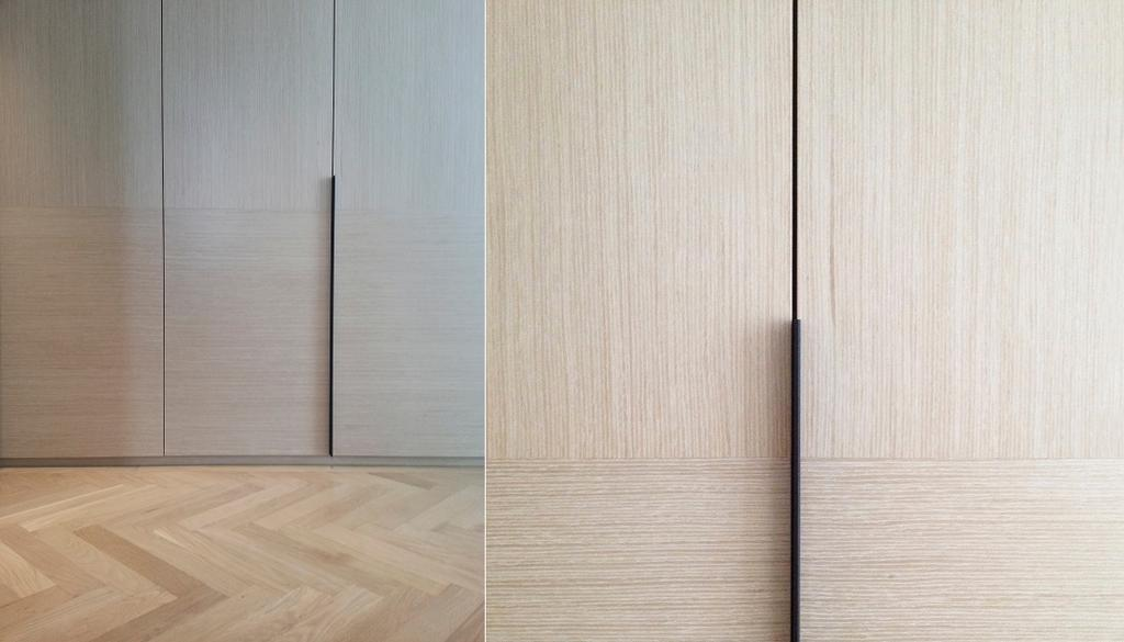 Modern, Condo, Bedroom, Evelyn, Architect, 0932 Design Consultants, Detailing, Wardrobe Handle, Cupboard Handle, Wood Panelling, Wood Grain, Wood Flooring, Neutrals, Grey, Gray, Dove Grey, Nude, Beige, Soft Colours, Flooring