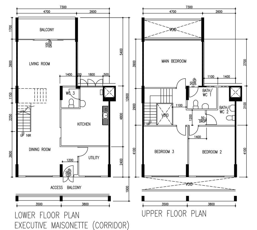 Contemporary, HDB, G Masionette, Architect, 0932 Design Consultants, Floor Plan, Diagram, Plan