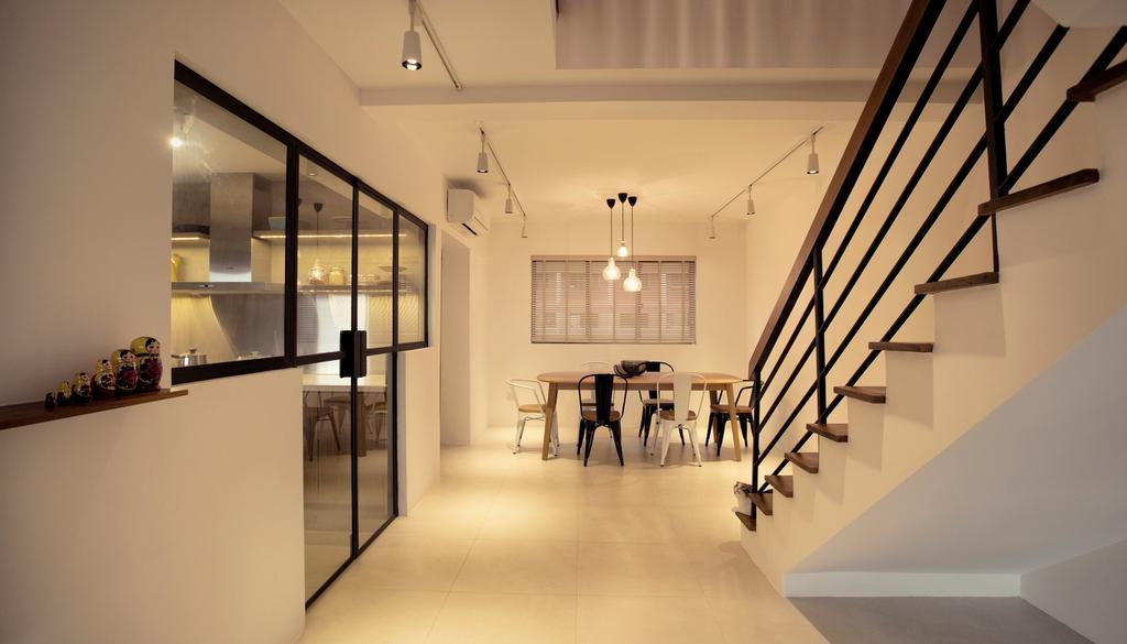 Contemporary, HDB, G Masionette, Architect, 0932 Design Consultants, Corridor, Indoors, Interior Design, Dining Table, Furniture, Table, Door, Sliding Door