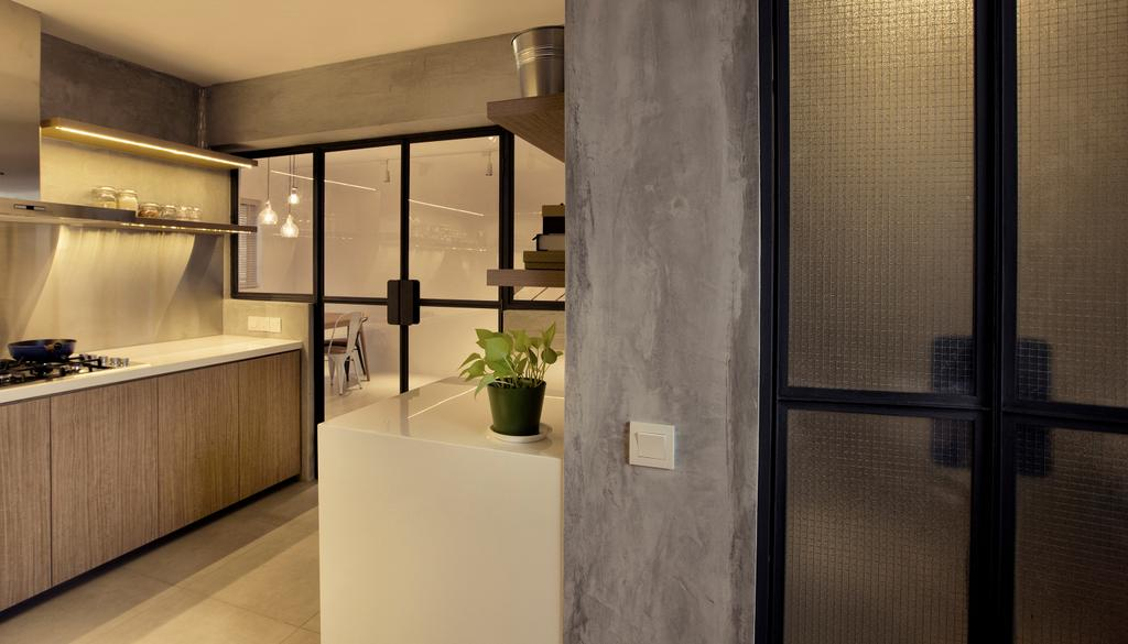 Contemporary, HDB, Kitchen, G Masionette, Architect, 0932 Design Consultants, Flora, Jar, Plant, Potted Plant, Pottery, Vase, Door, Sliding Door, Indoors, Interior Design