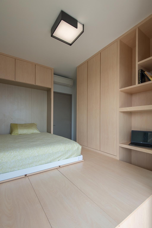 Minimalistic, Condo, Bedroom, Riversails, Interior Designer, Dyel Design, Shelf, Indoors, Interior Design, Room, Bed, Furniture