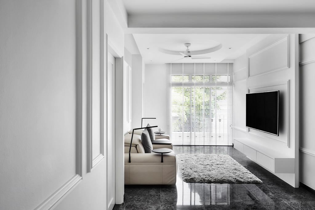 Modern, Condo, Living Room, Kellock Lodge, Interior Designer, Third Avenue Studio, Contemporary, Appliance, Electrical Device, Microwave, Oven, Fireplace, Hearth