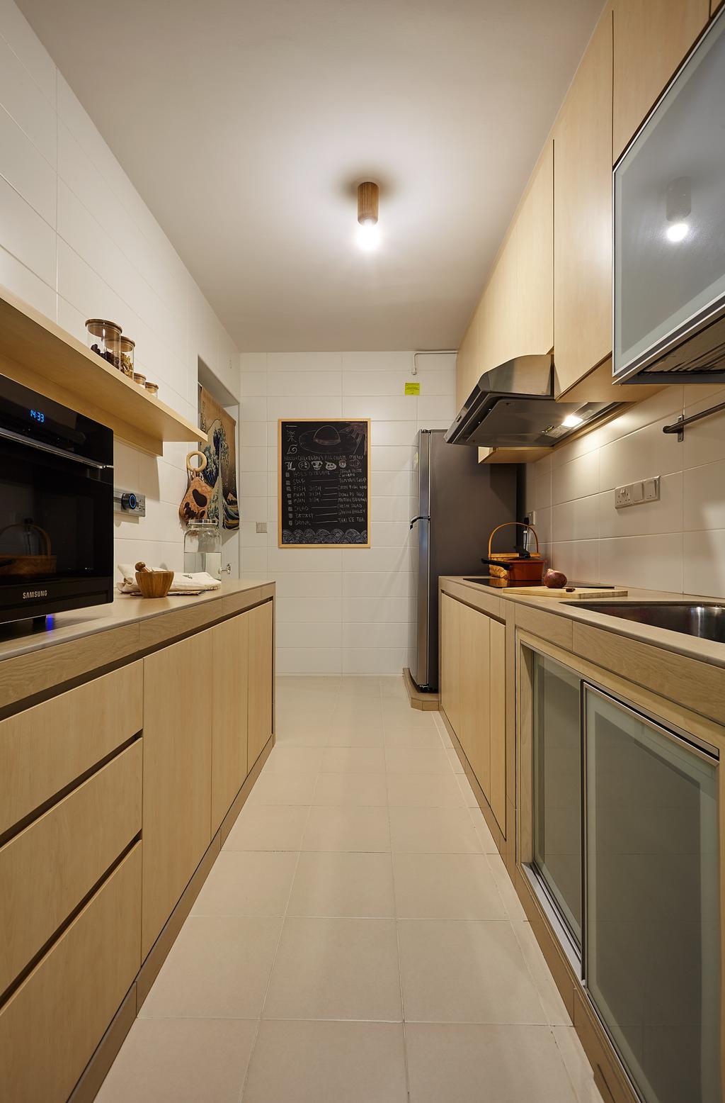 Minimalistic, HDB, Kitchen, Upper Serangoon View, Interior Designer, D5 Studio Image, Indoors, Interior Design, Room, Appliance, Electrical Device, Oven, Plaque