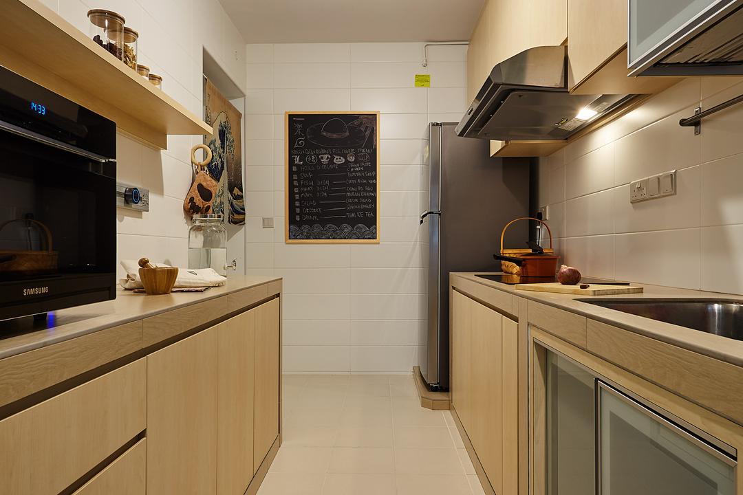 Upper Serangoon View, D5 Studio Image, Minimalistic, Kitchen, HDB, Indoors, Interior Design, Room, Appliance, Electrical Device, Oven, Plaque