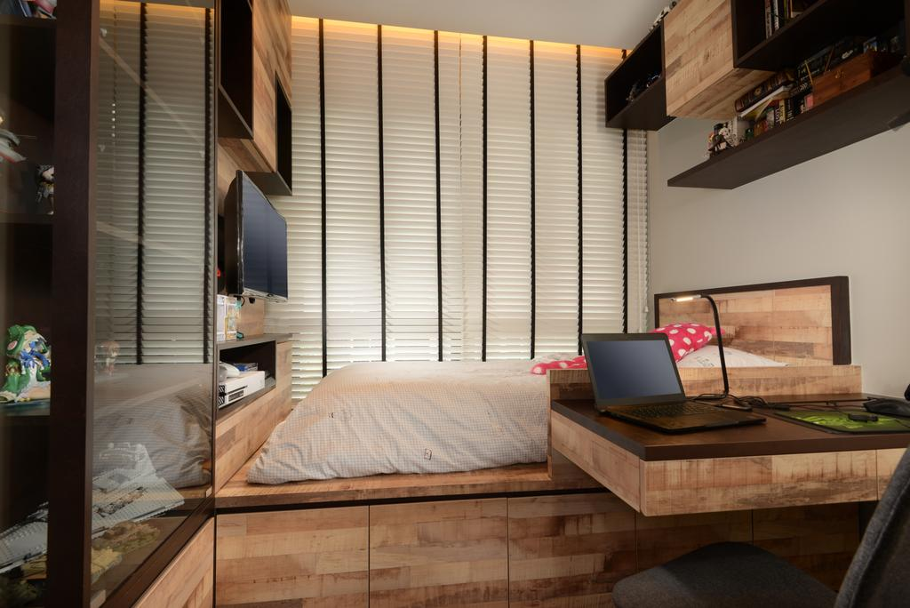 Contemporary, Condo, Bedroom, Jewel@Buangkok, Interior Designer, The Orange Cube, Computer, Electronics, Laptop, Pc, Plywood, Wood