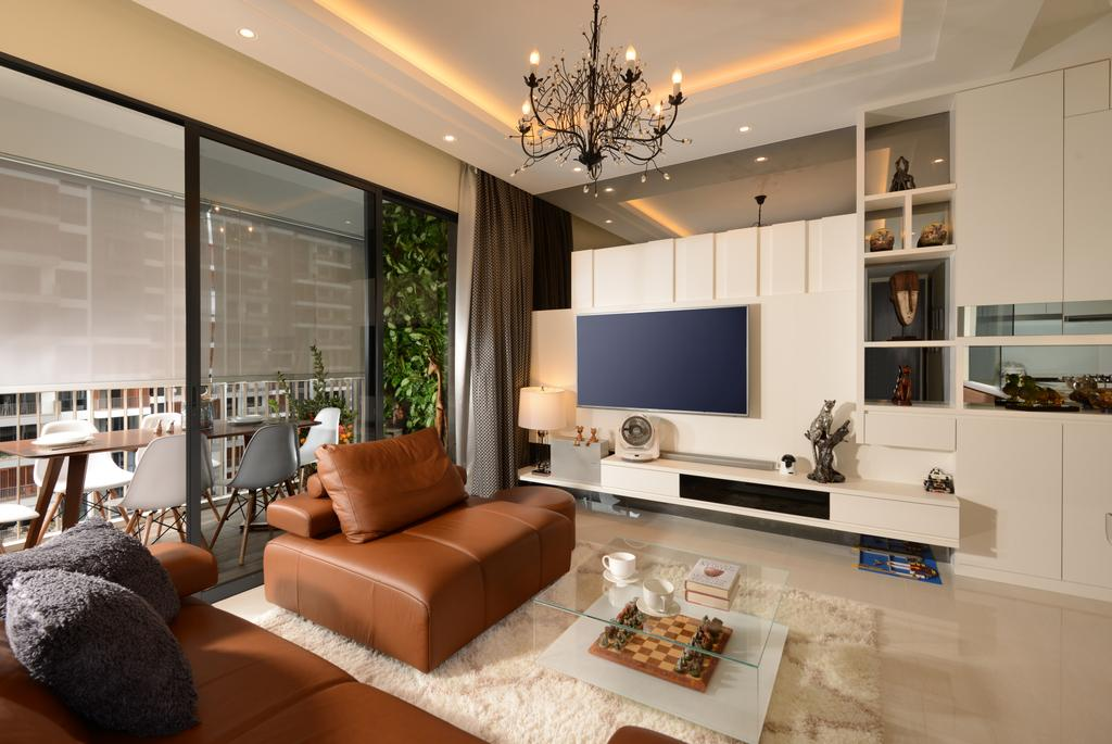 Contemporary, Condo, Living Room, Jewel@Buangkok, Interior Designer, The Orange Cube, Flora, Jar, Plant, Potted Plant, Pottery, Vase, Couch, Furniture, Indoors, Interior Design, Light Fixture