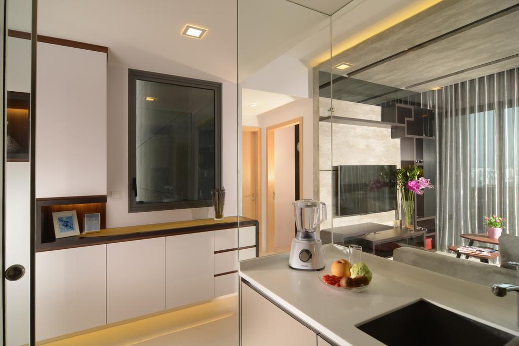 Modern, Condo, Kitchen, H2O Residences, Interior Designer, The Orange Cube, Indoors, Interior Design, Room, Shelf