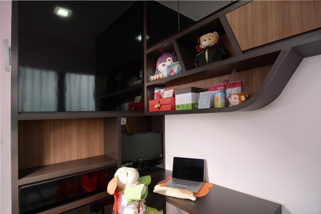 Modern, Condo, Study, H2O Residences, Interior Designer, The Orange Cube, Computer, Electronics, Laptop, Pc, Shelf, Bookcase, Furniture, HDB, Building, Housing, Indoors, Loft, Teddy Bear, Toy