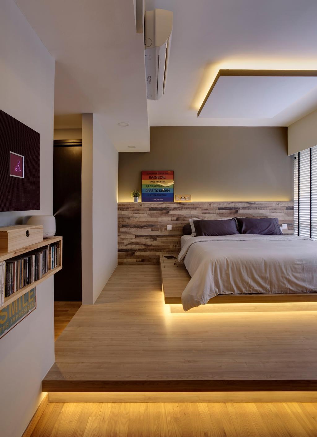 Modern, Condo, Bedroom, The Inflora, Interior Designer, The Orange Cube, Scandinavian, Shelf, Bed, Furniture, Bookcase