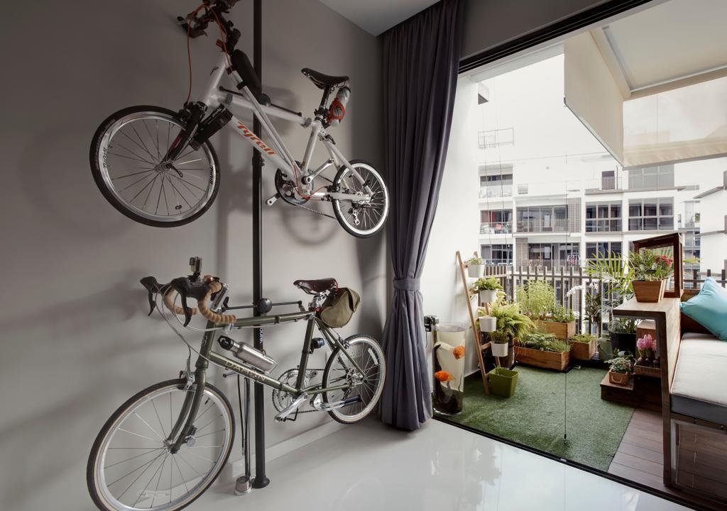 Modern, Condo, Balcony, The Inflora, Interior Designer, The Orange Cube, Scandinavian, Bicycle, Bike, Transportation, Vehicle, Mountain Bike