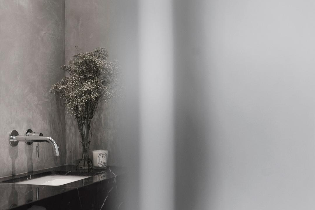 Coen, 0932 Design Consultants, Industrial, Bathroom, Commercial, Pantry, Grey, Gray, Concrete, Screed, Cement, Monochrome, Raw, Bonsai, Flora, Jar, Plant, Potted Plant, Pottery, Tree, Vase