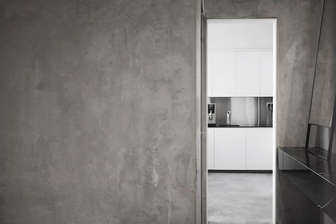 Coen, 0932 Design Consultants, Industrial, Commercial, Grey, Gray, Monochrome, Concrete, Cement, Screed, Raw, Pantry, Kitchen