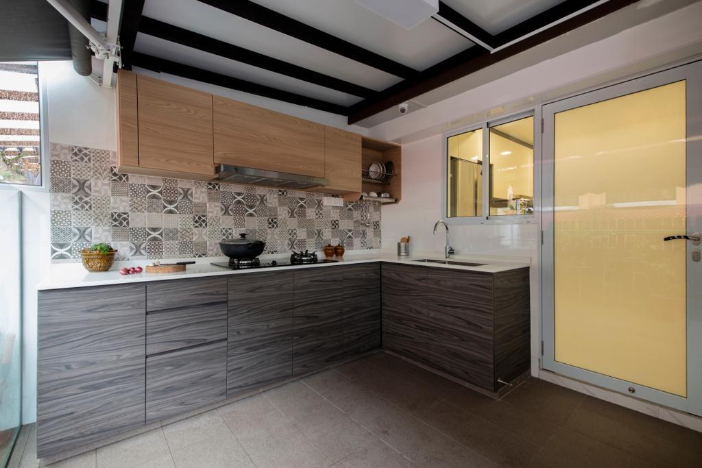 Modern, Landed, Kitchen, Tai Hwan Road, Interior Designer, Starry Homestead, Door, Sliding Door