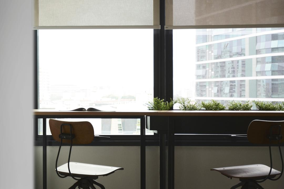 Coen, 0932 Design Consultants, Industrial, Commercial, Table By The Window, Planter Box, High Desk, High Stool, Window View, Chair, Furniture