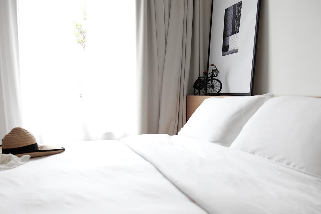 D Apartment, 0932 Design Consultants, Minimalist, Bedroom, Condo, Clothing, Hat, Sun Hat, Bed, Furniture, Indoors, Interior Design, Room