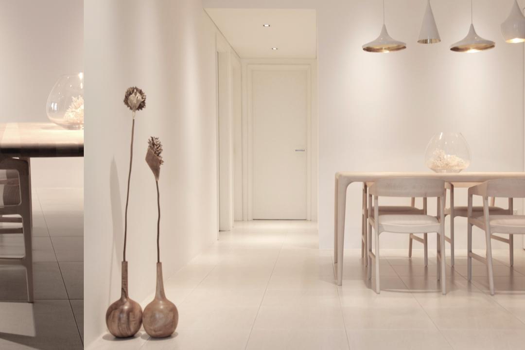 D Apartment, 0932 Design Consultants, Minimalistic, Dining Room, Condo, Pendant Lamp, Tom Dixon, Display Ornament, Dining Table, Furniture, Table, Indoors, Interior Design
