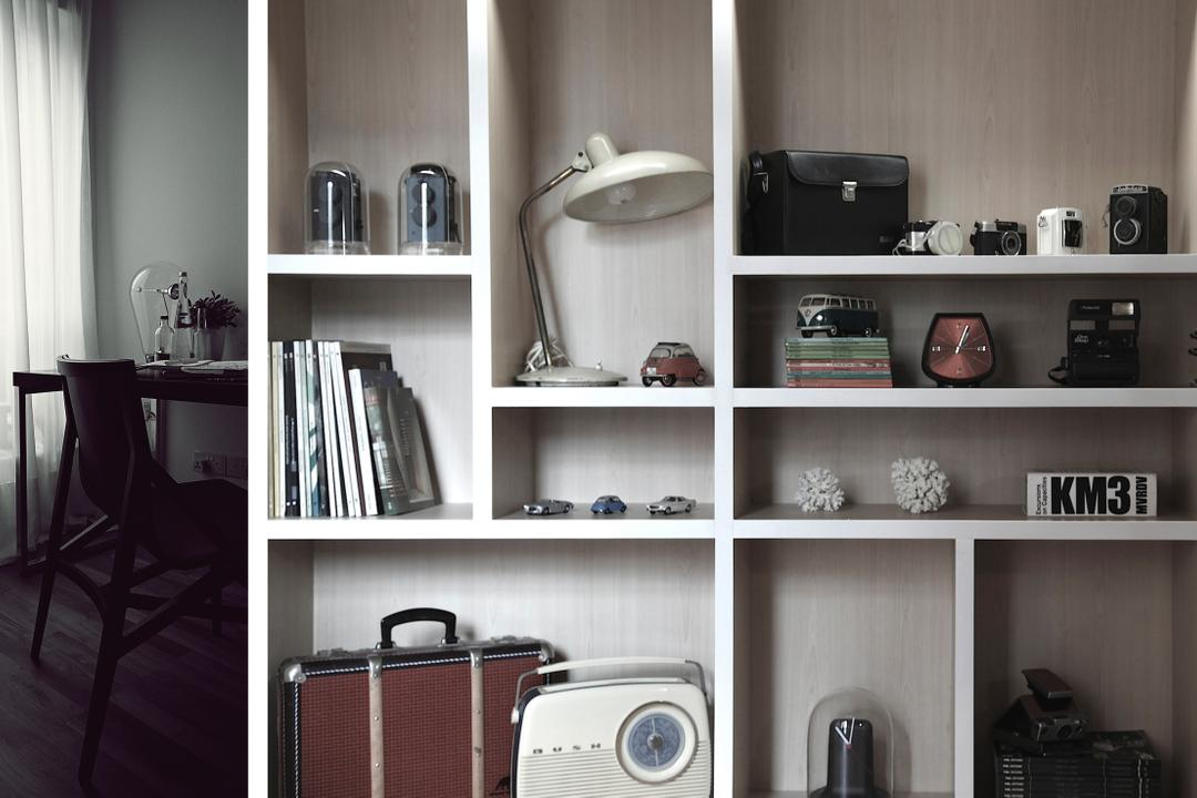 D Apartment, 0932 Design Consultants, Minimalistic, Living Room, Condo, Bookcase, Cabinet, Storage, Display, Cubbyholes, Chair, Furniture, Shelf
