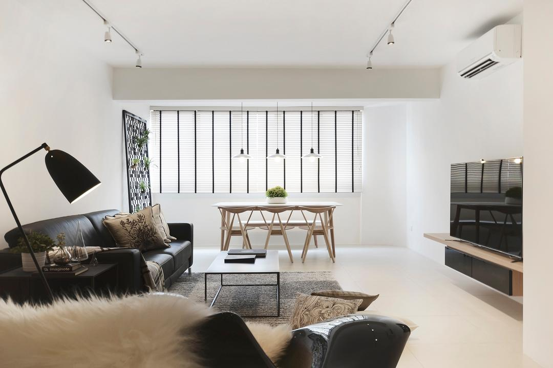 D Masionette, 0932 Design Consultants, Minimalist, Living Room, HDB, Tv Console, Television, Linds, Pendant Lamp, Track Lightings, Air Conditioner, White Tiles, Matt Tiles, Standing Lamp, Rocking Chair, Dining, Sofa, Monochrome, Neutrals, Couch, Furniture, Chair, Table, Dining Table