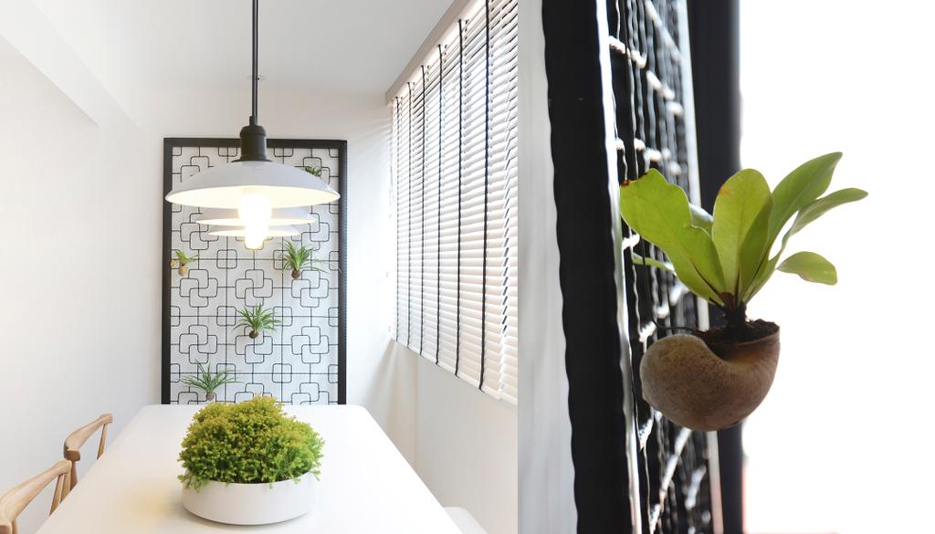 Minimalist, HDB, Dining Room, D Masionette, Architect, 0932 Design Consultants, Hanging Lamp, Flora, Jar, Plant, Potted Plant, Pottery, Vase, Planter, Bonsai, Tree, Light Fixture, Indoors, Interior Design