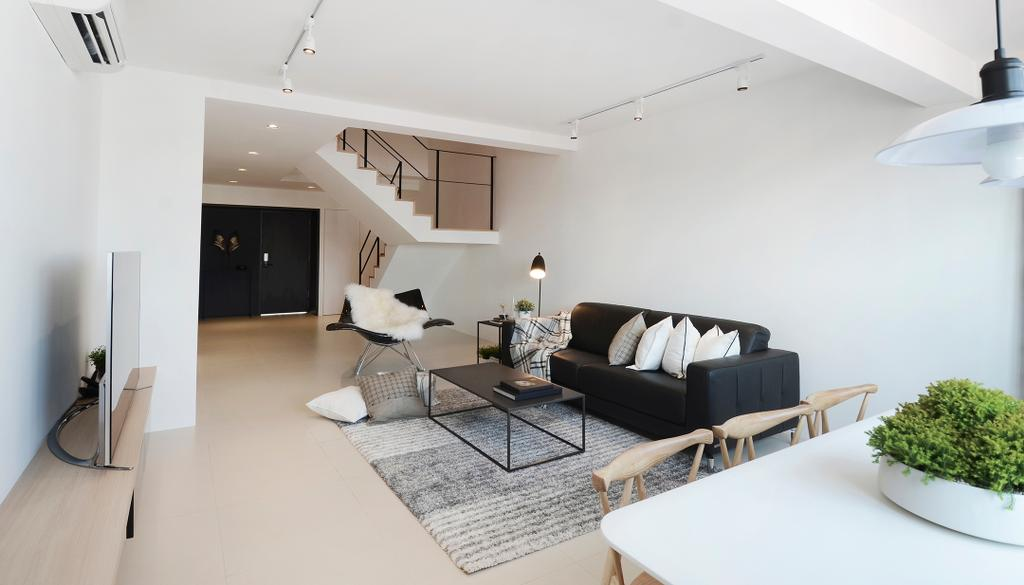 Minimalist, HDB, Living Room, D Masionette, Architect, 0932 Design Consultants, Stairs, Potted Plants, Wooden Furniture, Daylight, Natural Light, Indoors, Interior Design, Dining Room, Room