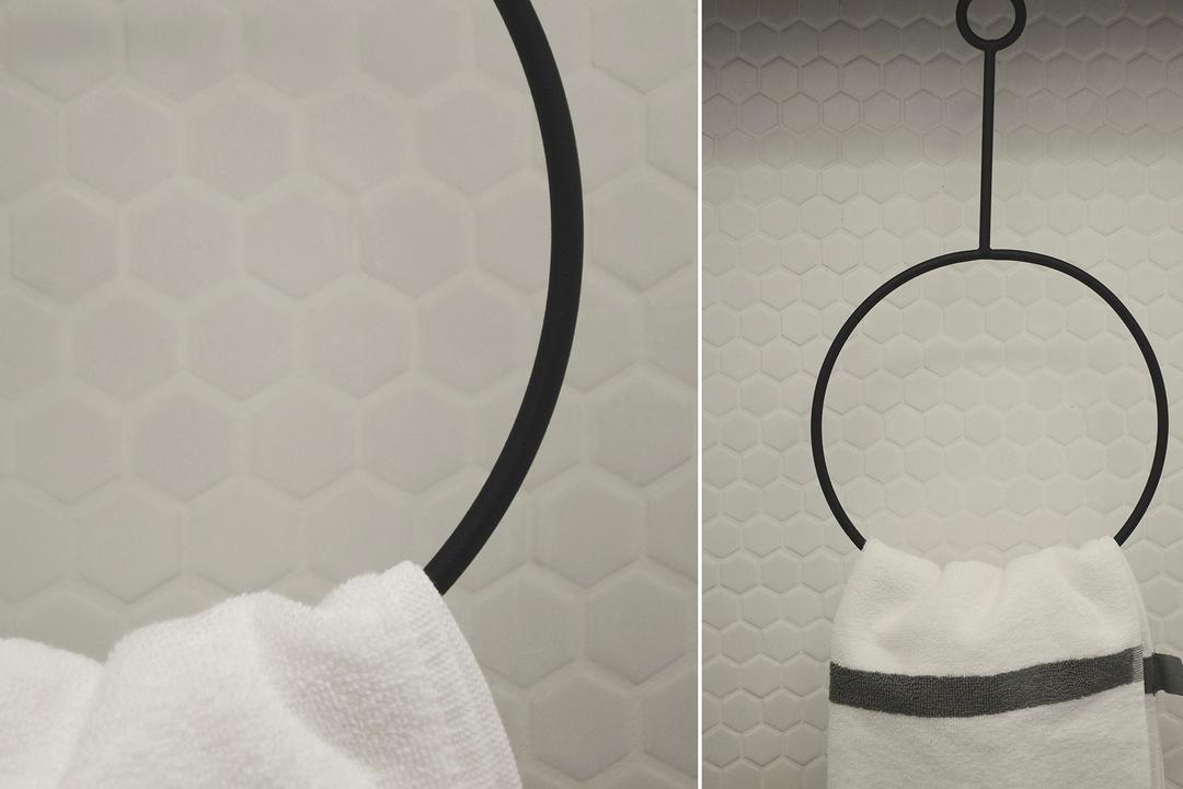 D Masionette, 0932 Design Consultants, Minimalistic, Bathroom, HDB, Honeycomb Tile, Honeycomb, Hexagonal Tiles, Monochrome, Black And White, Bathroom Tile, Towel Rack, Towel Holder, Chair, Furniture