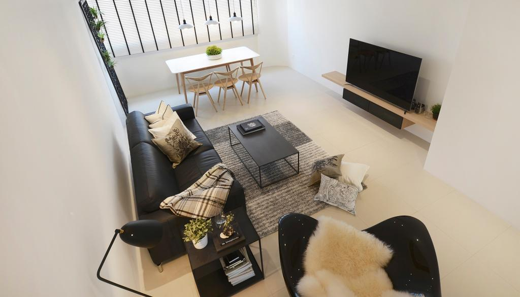 Minimalistic, HDB, Living Room, D Masionette, Architect, 0932 Design Consultants, Dining Table, Furniture, Table, Shelf