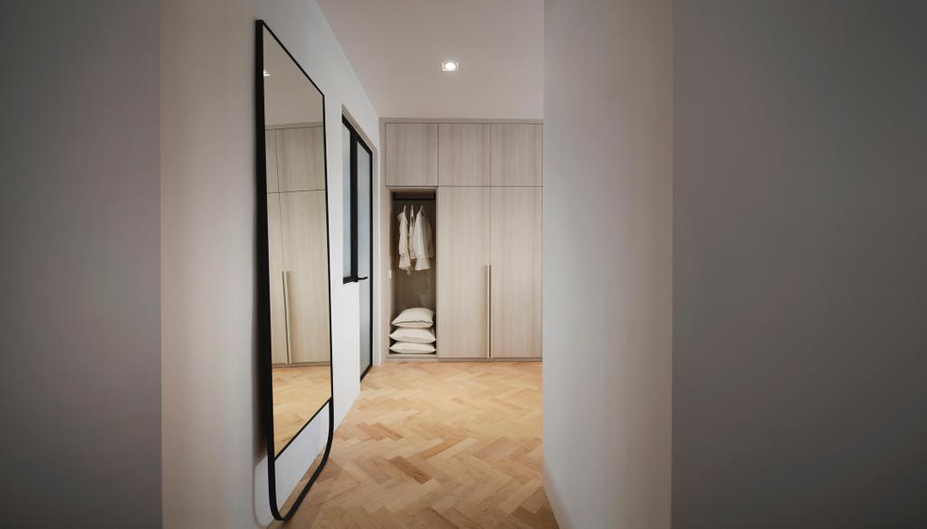 Minimalistic, HDB, Bedroom, D Masionette, Architect, 0932 Design Consultants, Full Length Mirror, Nude, Neutrals, Blush, Cosy, Soothing, Serene, Soothe, Closet, Furniture, Wardrobe, Molding, Flooring, Floor