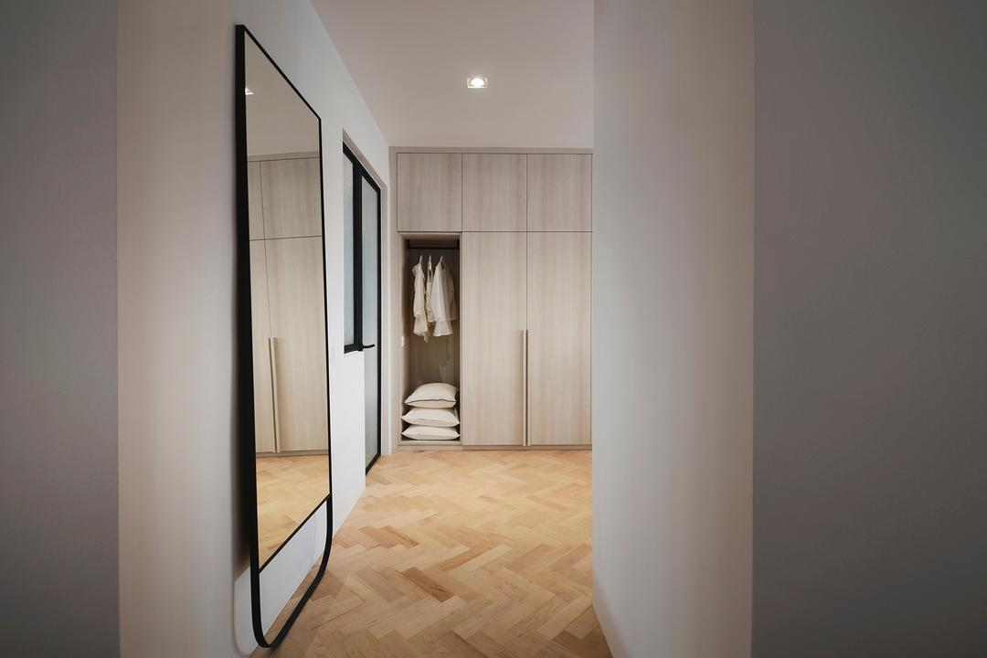 D Masionette, 0932 Design Consultants, Minimalistic, Bedroom, HDB, Full Length Mirror, Nude, Neutrals, Blush, Cosy, Soothing, Serene, Soothe, Closet, Furniture, Wardrobe, Molding, Flooring, Floor