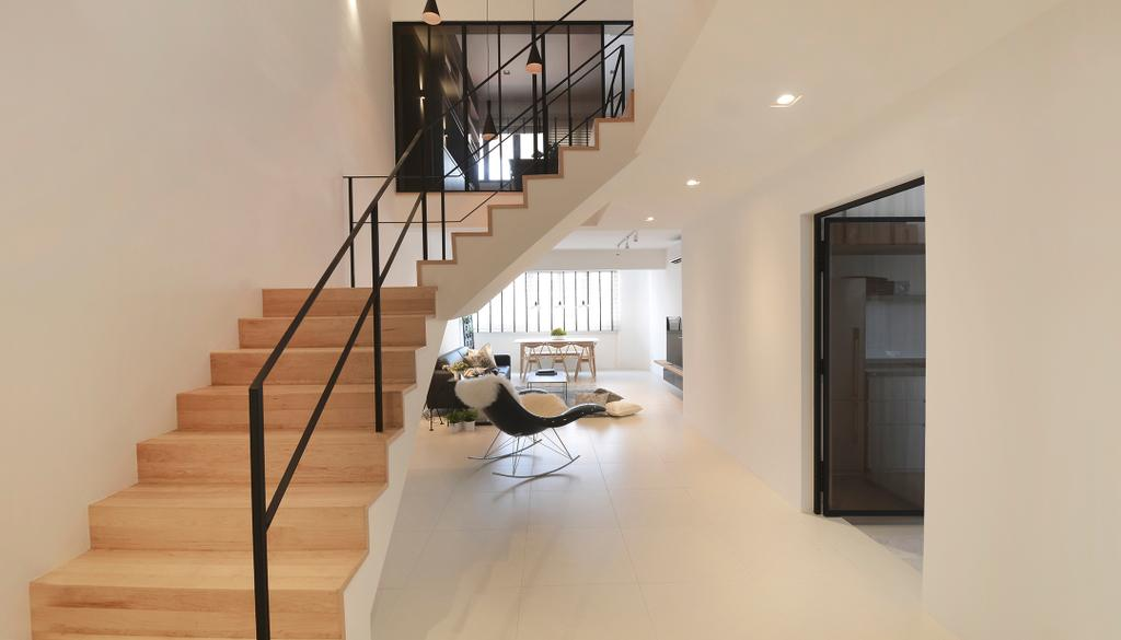 Minimalist, HDB, Living Room, D Masionette, Architect, 0932 Design Consultants, Banister, Handrail, Staircase, Building, Housing, Indoors, Loft