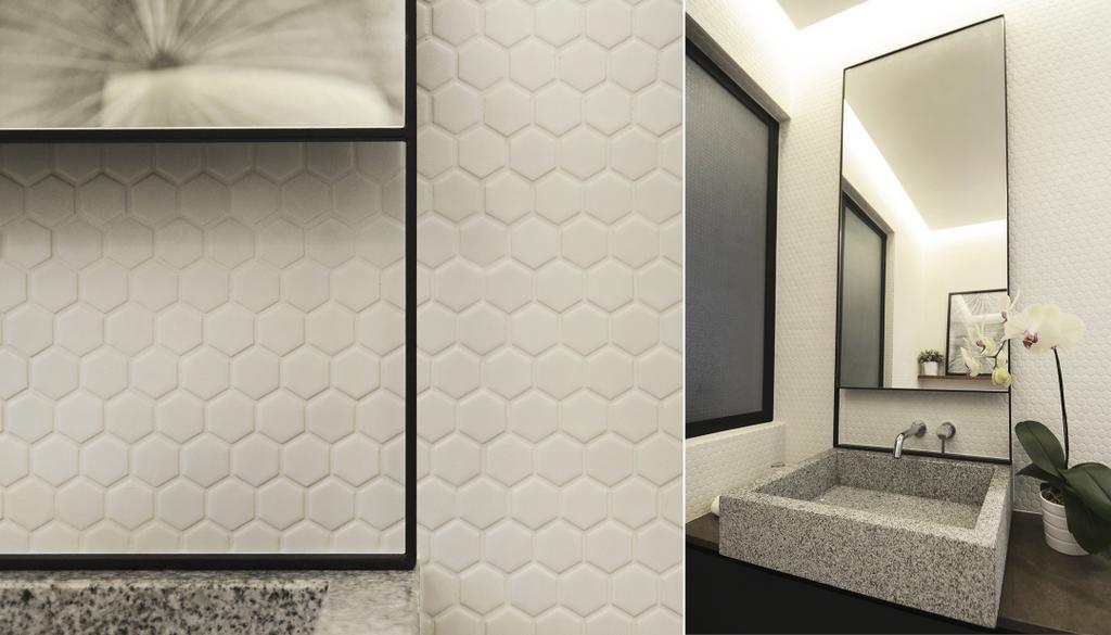 Minimalistic, HDB, Bathroom, D Masionette, Architect, 0932 Design Consultants, Honeycomb Tiles, Indoors, Interior Design, Room