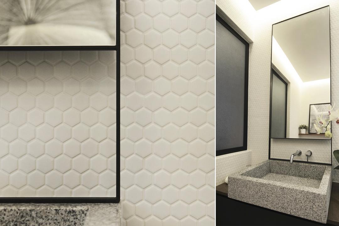 D Masionette, 0932 Design Consultants, Minimalistic, Bathroom, HDB, Honeycomb Tiles, Indoors, Interior Design, Room