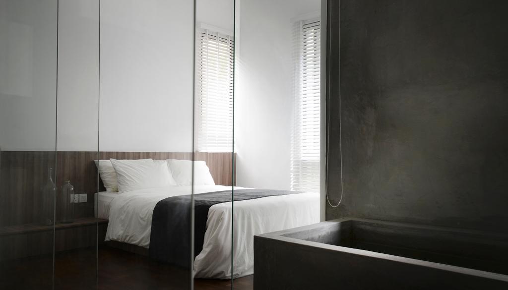 Industrial, Condo, Bedroom, J Studio, Architect, 0932 Design Consultants, Monochrome, Black, White, Bath