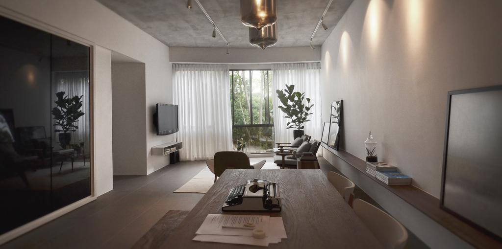 Industrial, Condo, Living Room, J Studio, Architect, 0932 Design Consultants, Window, Couch, Furniture, Sink, Flora, Jar, Plant, Potted Plant, Pottery, Vase, Indoors, Room, Dining Room, Interior Design
