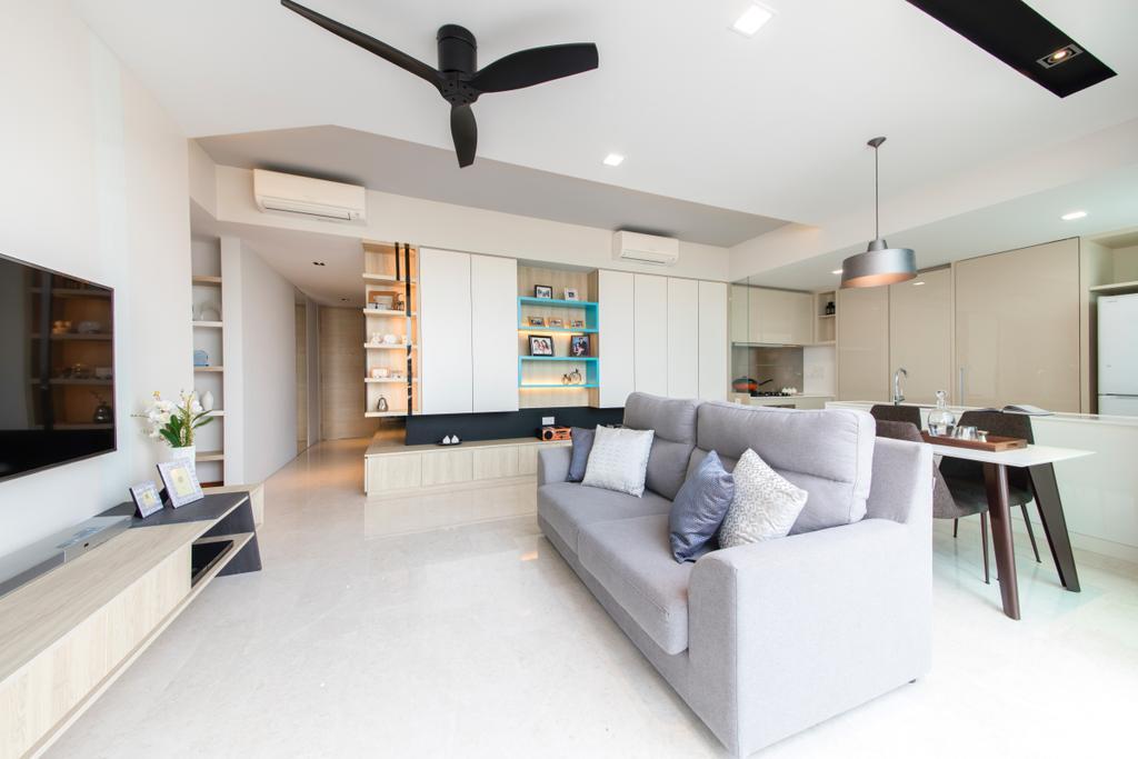 Minimalistic, Condo, Living Room, Sennett Residence, Interior Designer, Anhans Interior Design, Dining Table, Furniture, Table, Couch, Indoors, Interior Design