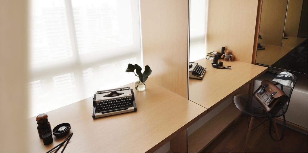 Minimalistic, Condo, Study, TT Apartment, Architect, 0932 Design Consultants, Bay Window, Window, Window Ledge, Work Desk, Electronics, Keyboard, Desk, Furniture, Table, Bottle, Ink Bottle, Chair
