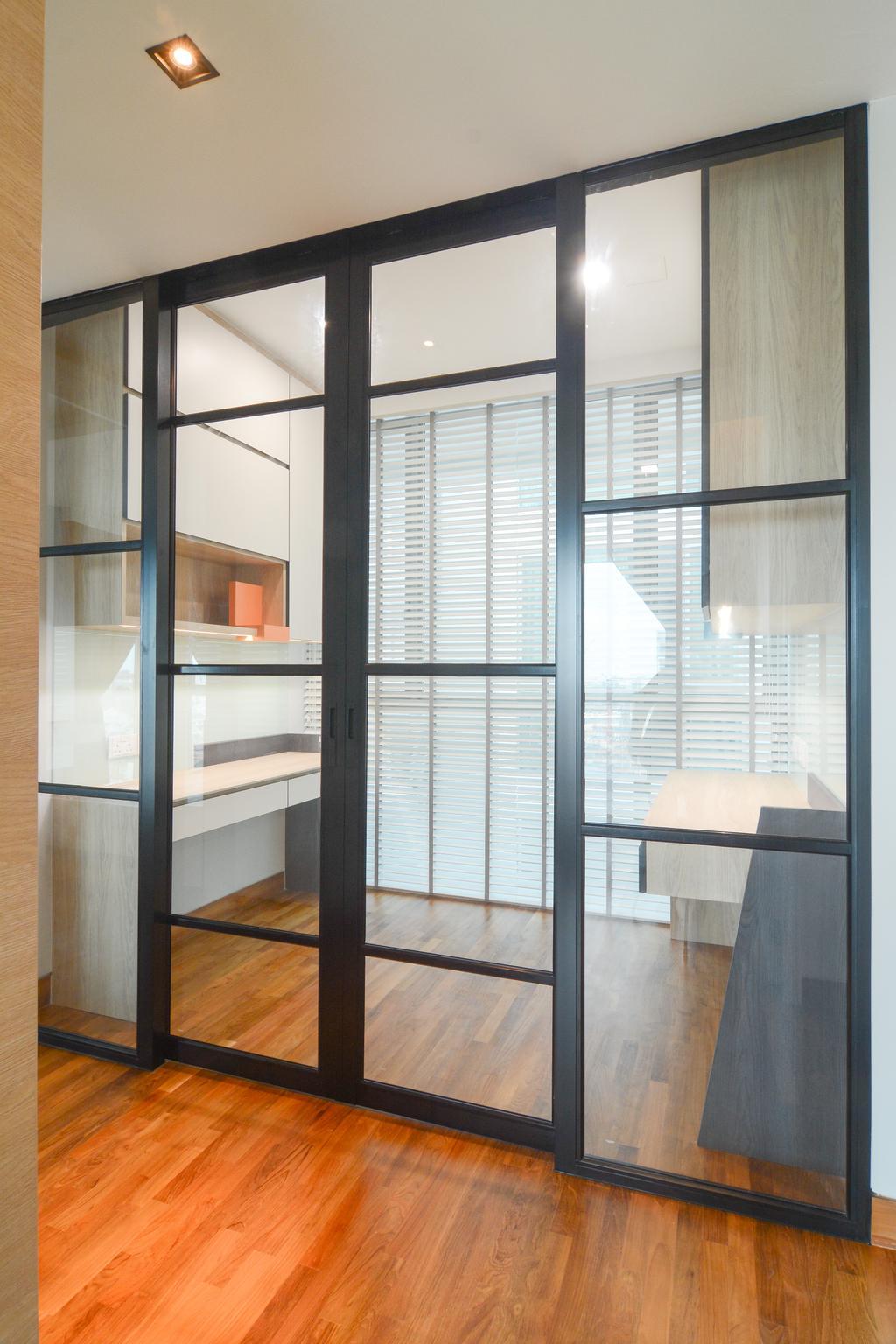 Minimalistic, Condo, Study, Sennett Residence, Interior Designer, Anhans Interior Design, Appliance, Electrical Device, Microwave, Oven, Door, Sliding Door, Shelf
