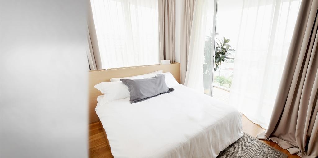 Minimalistic, Condo, Bedroom, TT Apartment, Architect, 0932 Design Consultants, Headboard, Neutrals, Pillow, Nude, Curtain, Bed, Indoors, Interior Design, Room