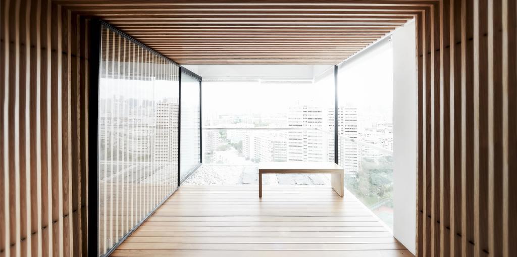 Minimalist, Condo, Balcony, TT Apartment, Architect, 0932 Design Consultants, Wooden Partition, Sliding Door, Bench, Wooden Deck