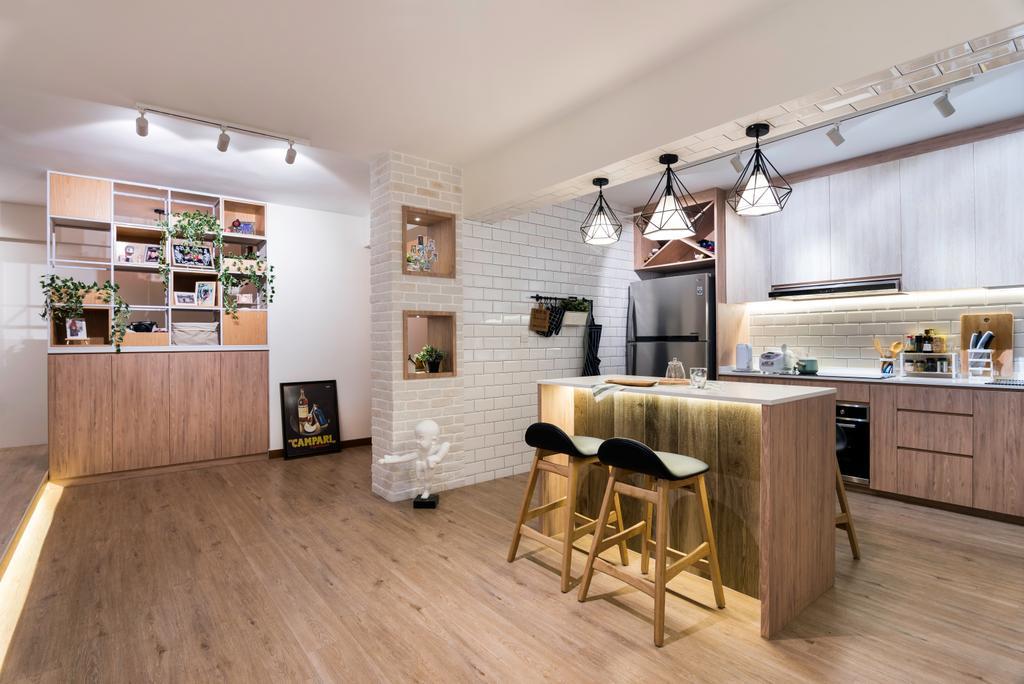 Scandinavian, HDB, Kitchen, Punggol Way (Block 316B), Interior Designer, Fineline Design, Flooring, Building, Housing, Indoors, Loft, Chair, Furniture, Interior Design