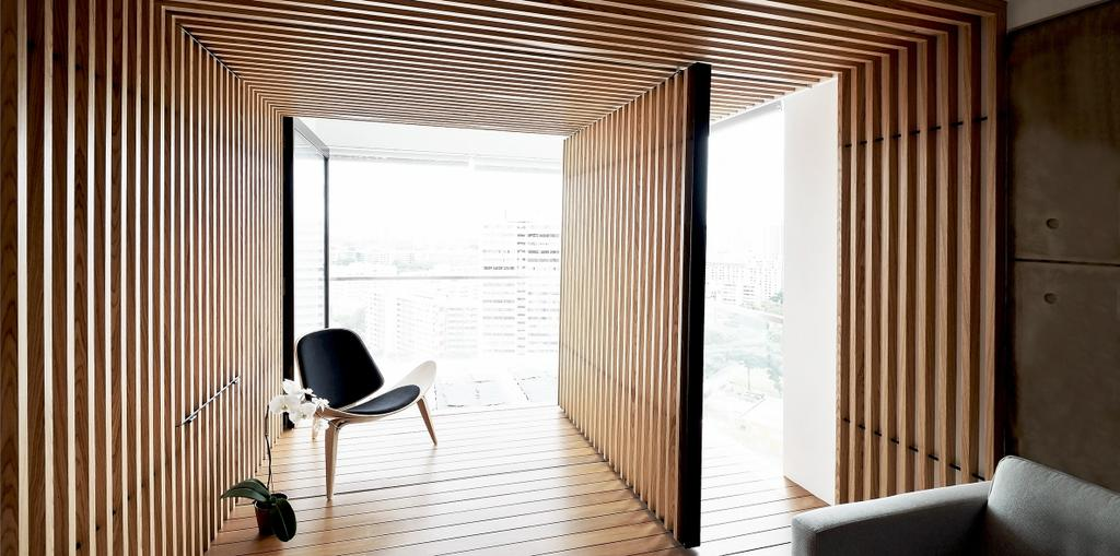 Minimalistic, Condo, Balcony, TT Apartment, Architect, 0932 Design Consultants, Wooden Partition, Armchair, Chair, Furniture