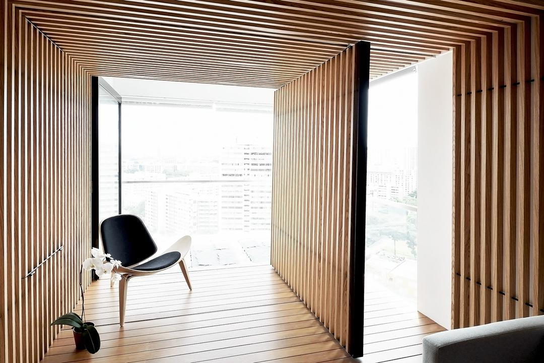 TT Apartment, 0932 Design Consultants, Minimalistic, Balcony, Condo, Wooden Partition, Armchair, Chair, Furniture