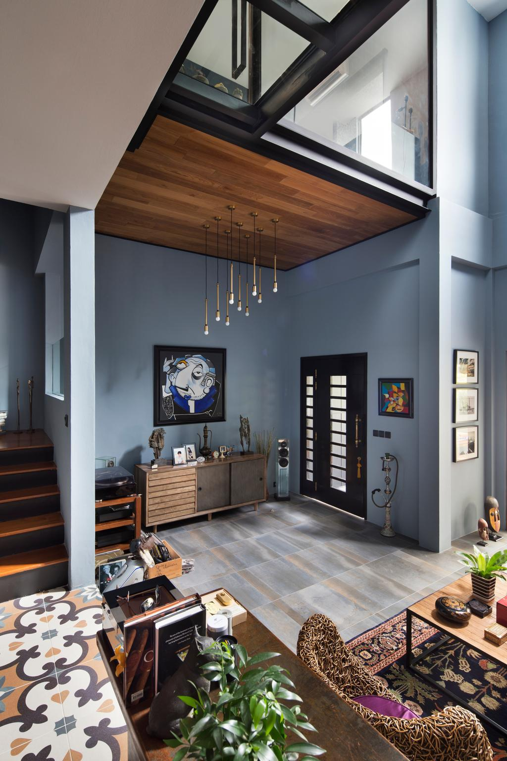 Eclectic, Landed, Eastwood Green, Interior Designer, The Scientist, Electronics, Entertainment Center, Home Theater, Banister, Handrail, Staircase
