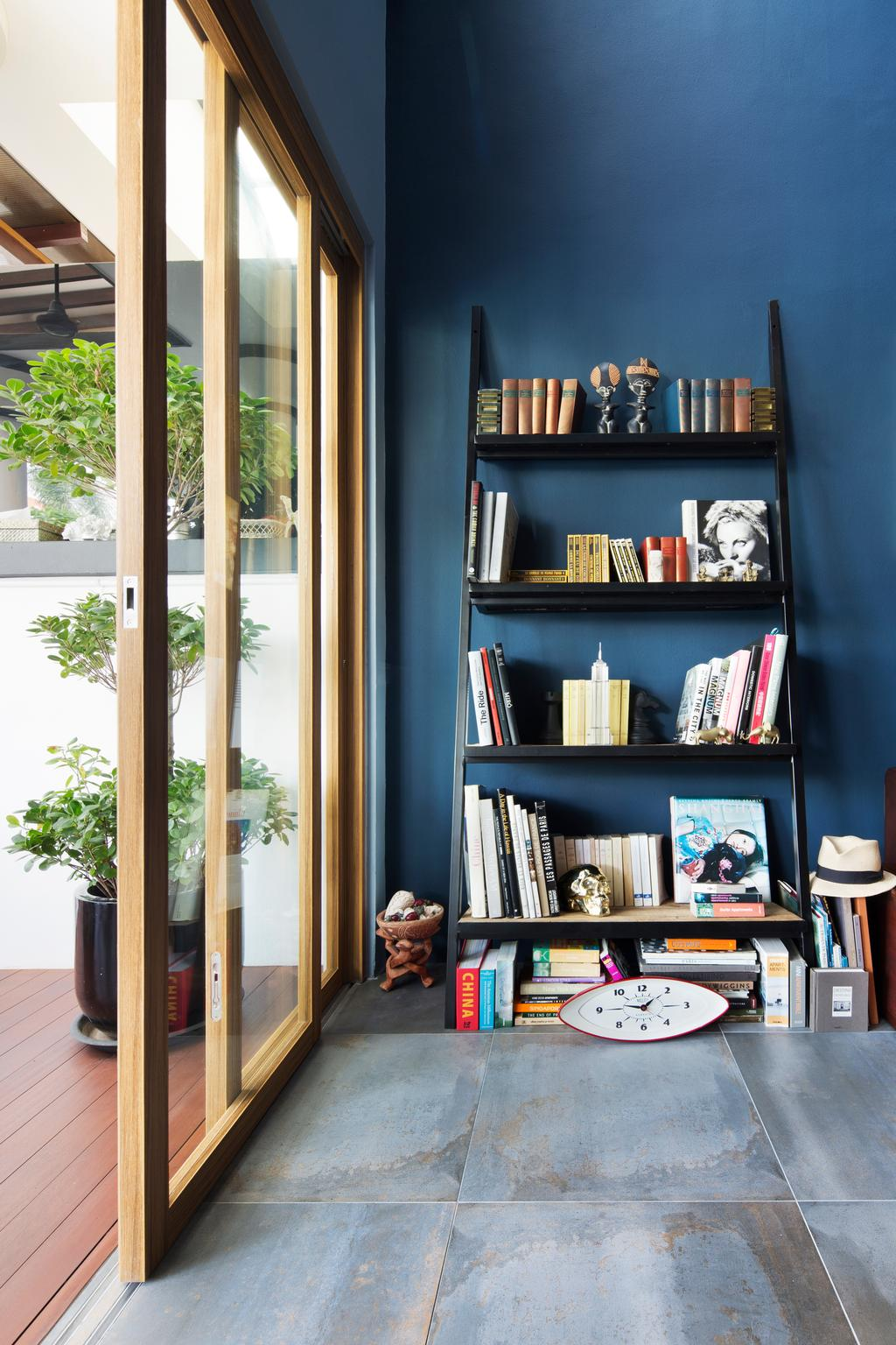 Eclectic, Landed, Eastwood Green, Interior Designer, The Scientist, Flora, Jar, Plant, Potted Plant, Pottery, Vase, Book, Bookcase, Furniture