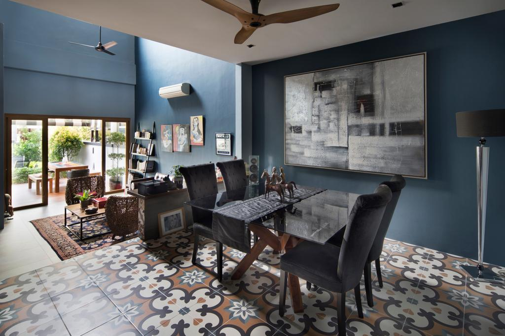 Eclectic, Landed, Dining Room, Eastwood Green, Interior Designer, The Scientist, Chair, Furniture, Indoors, Interior Design, Room, Flora, Jar, Plant, Potted Plant, Pottery, Vase, Couch