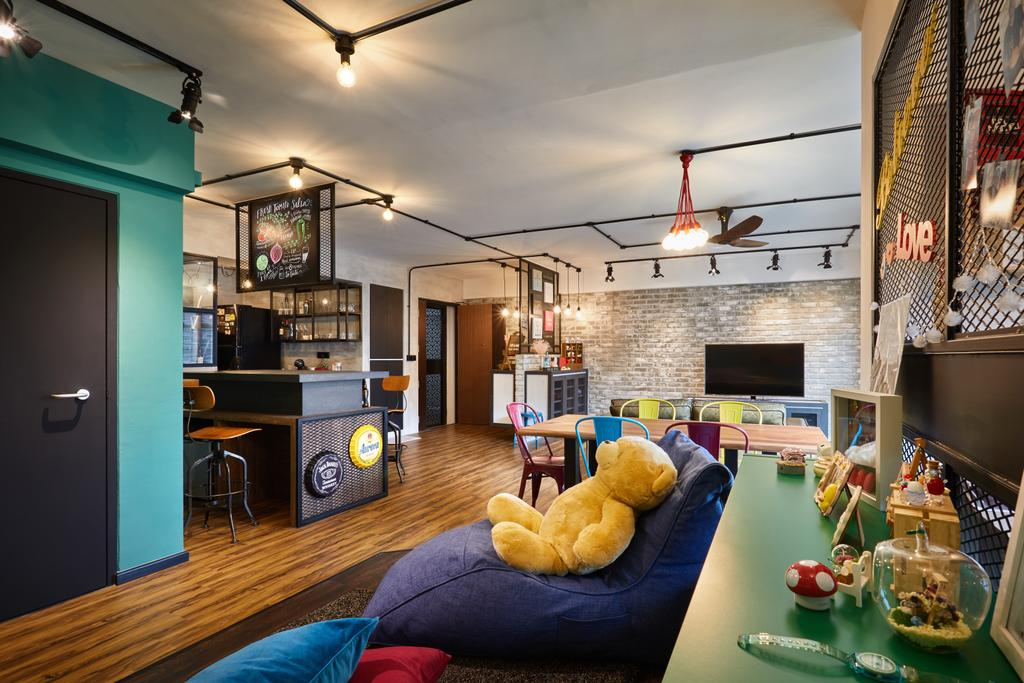 Scandinavian, HDB, Living Room, Edgedale Plains, Interior Designer, The Local INN.terior 新家室, Industrial, Couch, Furniture, Building, Housing, Indoors, Loft, Electronics, Entertainment Center, Home Theater