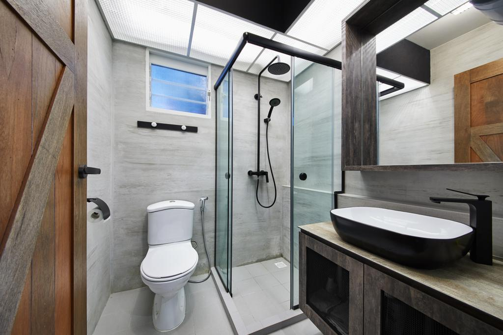 Scandinavian, HDB, Bathroom, Edgedale Plains, Interior Designer, The Local INN.terior 新家室, Industrial, Toilet, Indoors, Interior Design, Room, Window