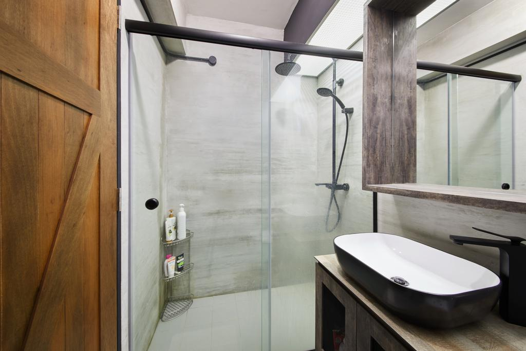 Scandinavian, HDB, Bathroom, Edgedale Plains, Interior Designer, The Local INN.terior 新家室, Industrial, Sink, Indoors, Interior Design, Room, Plywood, Wood