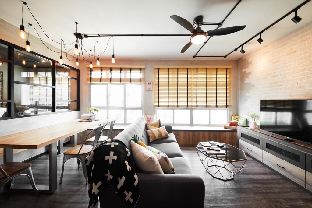 Industrial, HDB, Living Room, Tampines, Interior Designer, The Local INN.terior 新家室, Couch, Furniture, Dining Table, Table, Dining Room, Indoors, Interior Design, Room